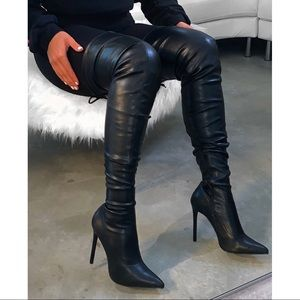 shop official bee Shoes - Black Thigh High Boots